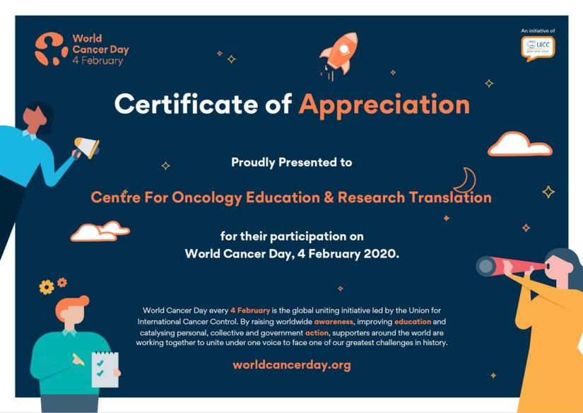 World Cancer Day Certificate CONCERT