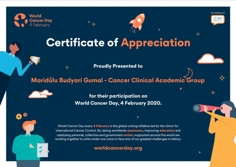World Cancer Day Certificate Cancer CAG